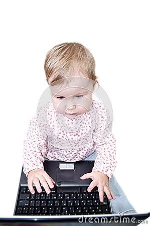 Child working on laptop