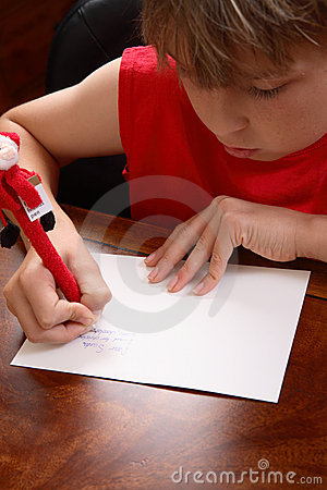 Child writing a letter