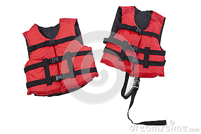 Child and youth life vests isolated on white