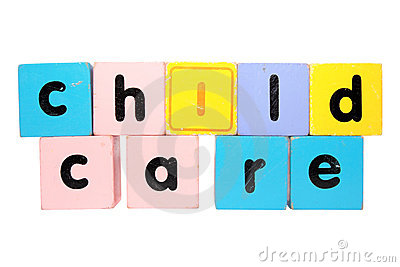 Childcare block letters with clipping path