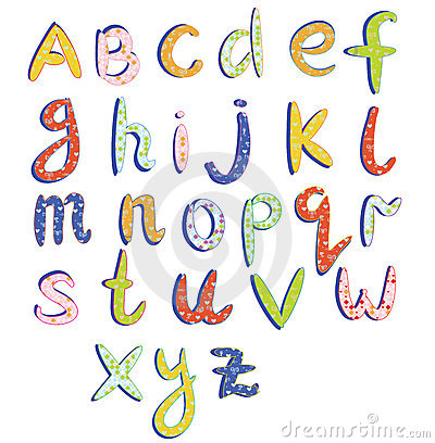 Childish alphabet with funny patterns