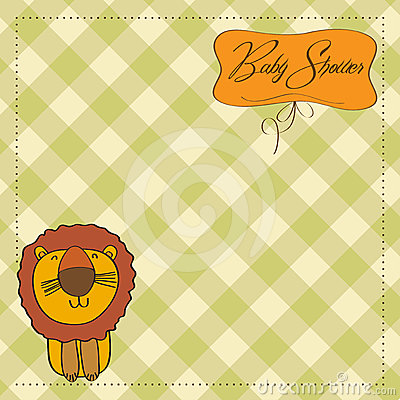 Childish baby shower card with  lion