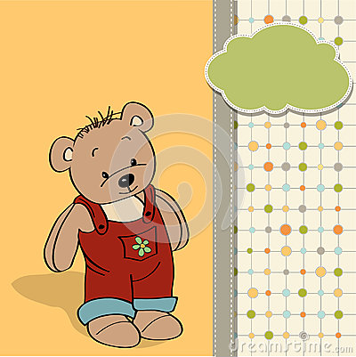 Childish card with funny teddy bear