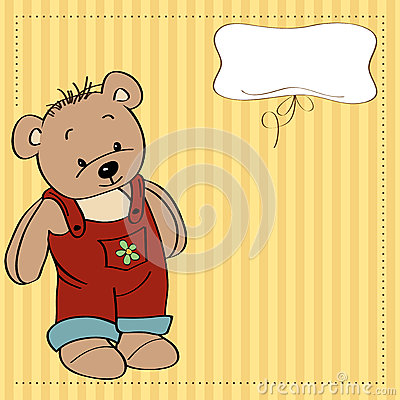 Childish card with funny teddy bear