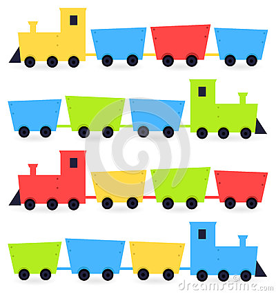 Childish cartoon colorful trains