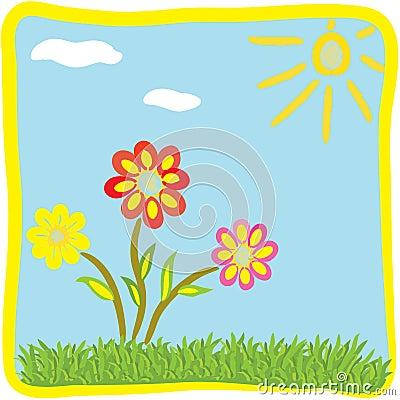 Childish cartoon floral greeting card