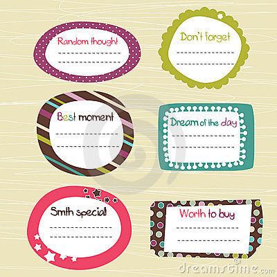 Childish scrapbook labels
