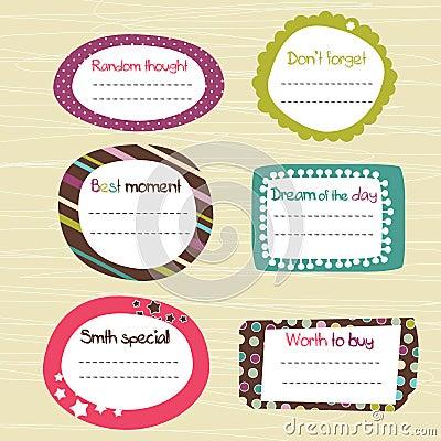 Free Childish Scrapbook Labels Stock Image - 21267871