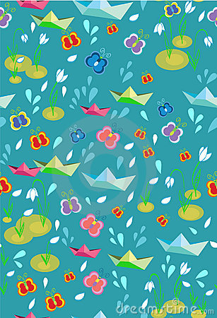 Childish seamless spring background