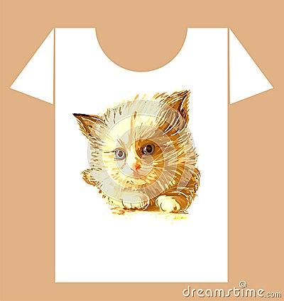 Childish t-shirt design with  kitten
