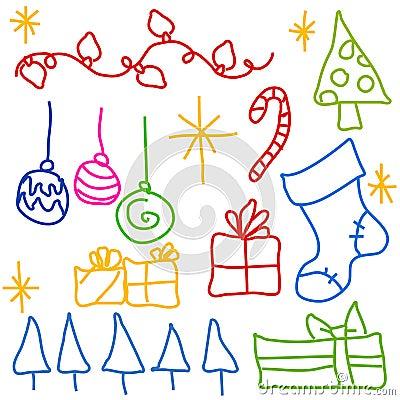 Childlike Christmas Doodle Drawings