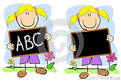 Childlike Drawing Girl Chalkboard