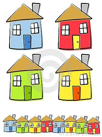 Free Childlike Drawings Of Houses Royalty Free Stock Image - 4148996