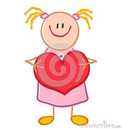 Childlike Girl Holding Heart
