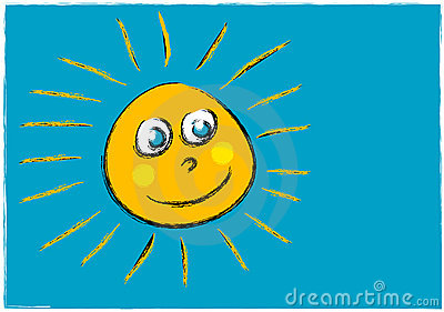 Childlike illustration of a smiling sun face