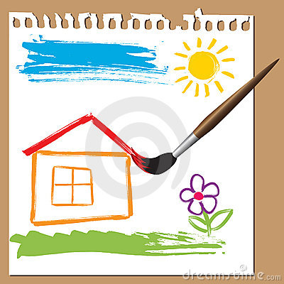 Childlike painting - house
