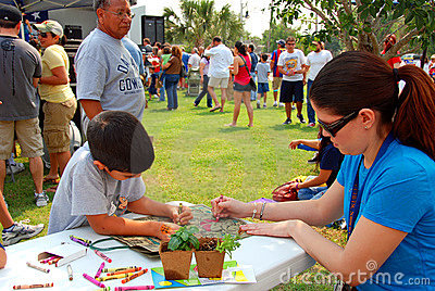 Children activity at Earth Fest Editorial Stock Photo