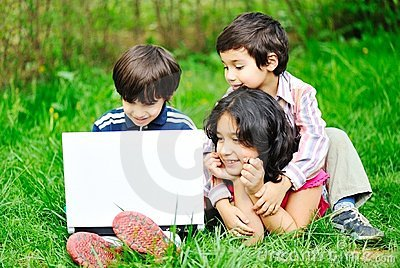 Children activity with laptop