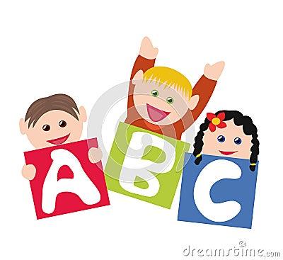 Children with alphabet blocks Stock Photo
