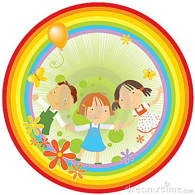 Free Children And Rainbow Stock Photography - 4942612