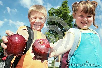 Children with apple