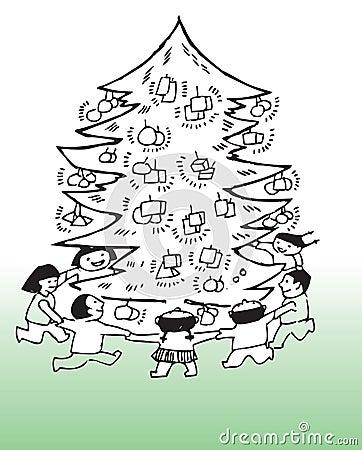 Children around Christmas tree