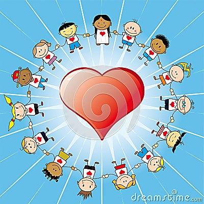 Children around a heart