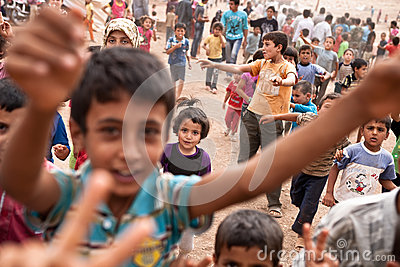 Children at Atmeh refugee camp, Atmeh, Syria. Editorial Stock Photo