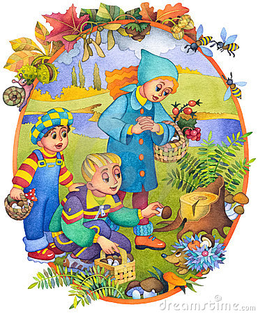 Children in the autumn