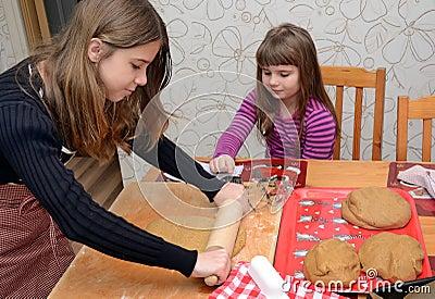 Children baking cake