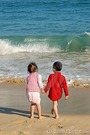 Children in the beach