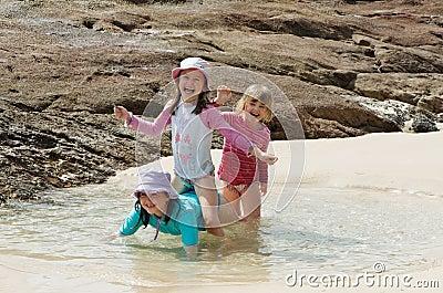 Children  beach fun