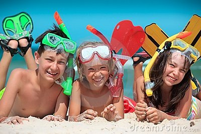 Children at beach snorkeling