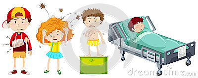 Children being sick from different disease
