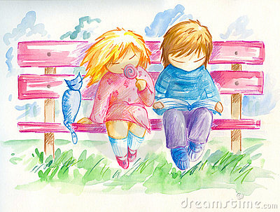 Children on the bench