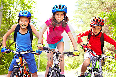 Children on bikes