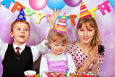 Children on birthday party