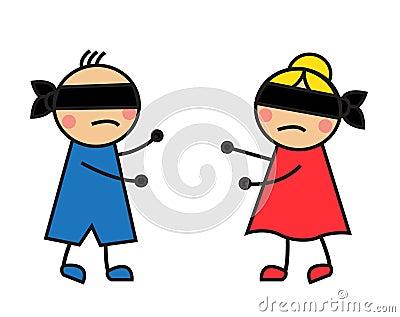 Children blindfolded seek each other