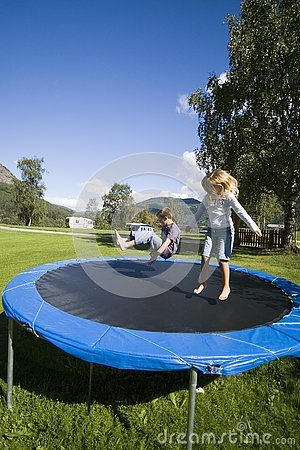 Children bouncing.