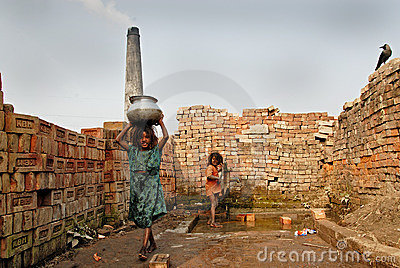 Children at the Brickfield in India Editorial Stock Image