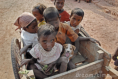 Children at the Brickfield in India Editorial Photo