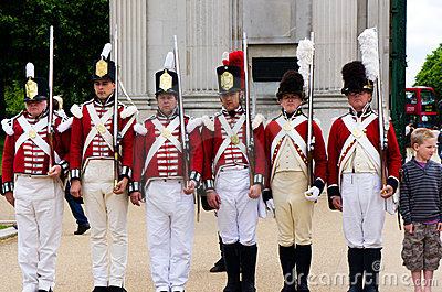 Children and British Royal Guard Editorial Photo