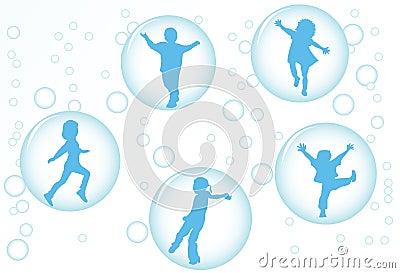 Children in bubbles