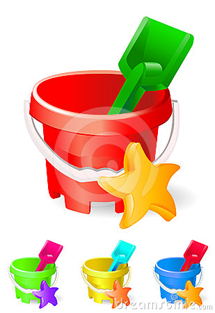 Children bucket and toys