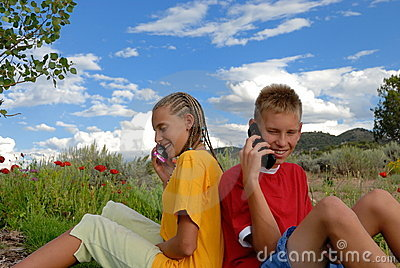 Children on cell phones