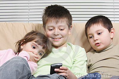 Children with cellphone