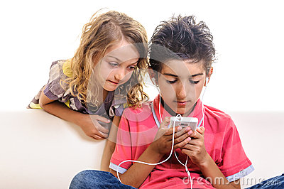 Children chat browsing internet cell phone