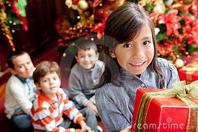 Children with Christmas presents