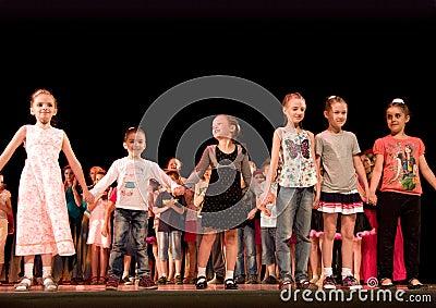 Children class awarding Editorial Stock Photo