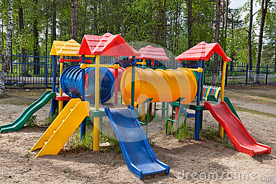 Children colorful playground in park
